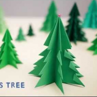 Simple origami Christmas tree ornament - paper Christmas tree (video tutorial)