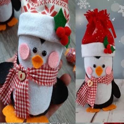 DIY Felt & plastic bottle penguin - Christmas gift wrapping idea
