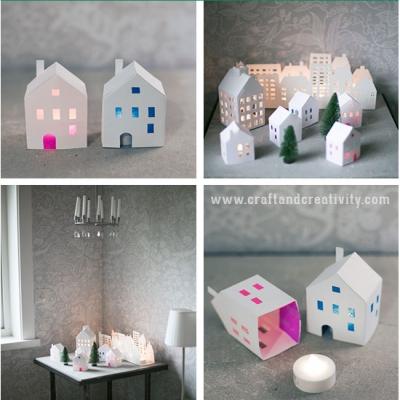 DIY Paper winter village (free printable template)
