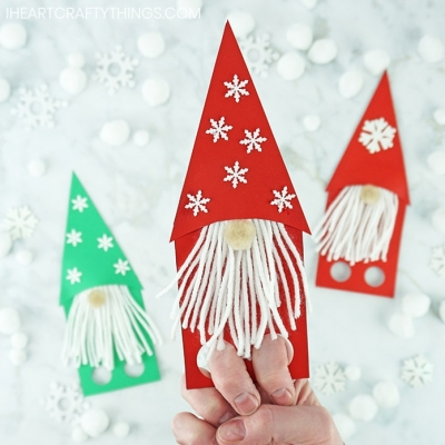 DIY Paper Christmas gnome finger puppet - fun Christmas craft for kids