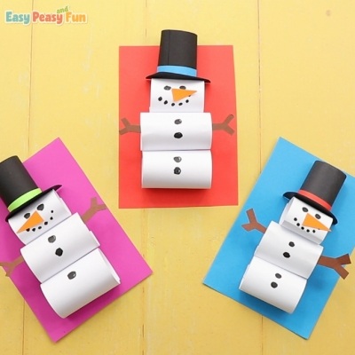 DIY Dimensional snowman card - simple paper snowman craft for kids