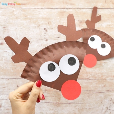 Paper plate Rudolph reindeer craft - fun Christmas craft for kids