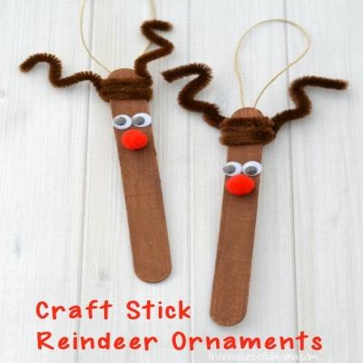 Craft stick Rudolph reindeer ornament - fun Christmas craft for kids