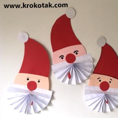 Simple DIY paper Santa ornament - Christmas craft for kids