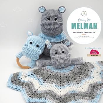 Amigurumi  Melman hippo baby kit (blanket, rattle & plush) free patterns