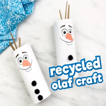 DIY Toilet paper roll Olaf (tp roll snowman) - Frozen craft for kids