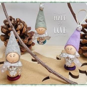 Little felt wooden bead elf - DIY Christmas tree ornament