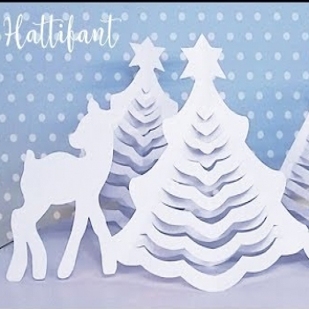 3D paper christmas tree - easy paper craft for kids (video tutorial)