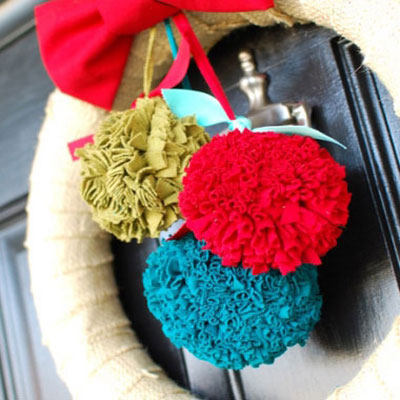 Fabric pompons from old clothes