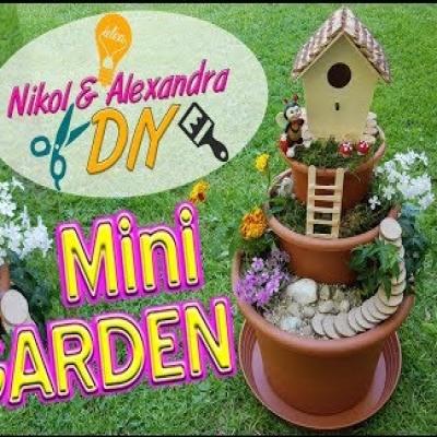 DIY miniature fairy garden in a flower pot ( garden decor )