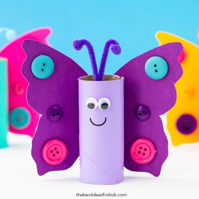 DIY Toilet paper roll butterfly - simple & fun spring craft for kids
