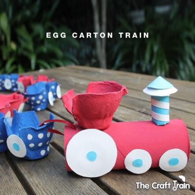 Egg carton train - fun egg carton craft for kids