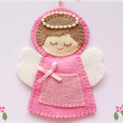 Felt angel christmas ornament with tiny pocket