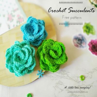 Crochet succulents (or crochet flowers) - free crochet pattern