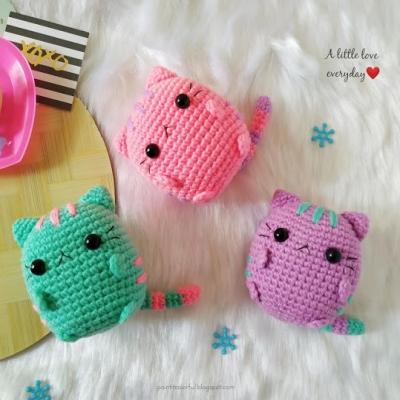 Pastel amigurumi Pusheen (amigurumi cat) - free crochet pattern