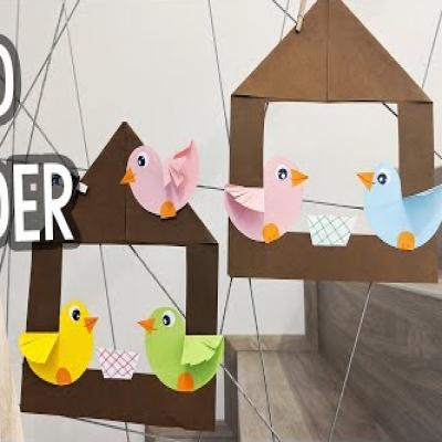 DIY Paper bird feeder - fun spring craft for kids