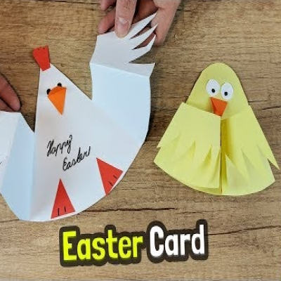 Simple & adorable chicken Easter card - paper craft for kids