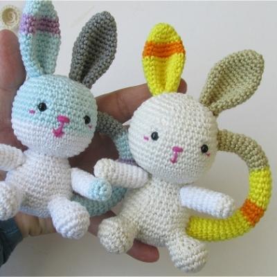 Amigurumi bunny baby rattle (free amigurumi pattern)