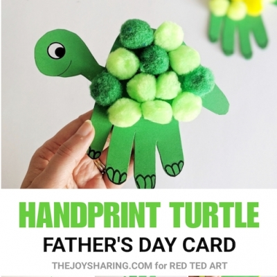 Adorable turtle handprint Father's day card  - Father's day craft for kids