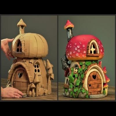 DIY Cardboard mushroom fairy house
