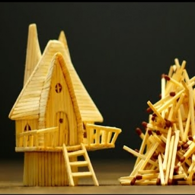 DIY Matchstick fairy house ( step-by-step fairy house making tutorial )