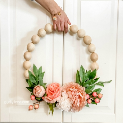 DIY Wood bead floral wreath ( wood bead spring wreath )