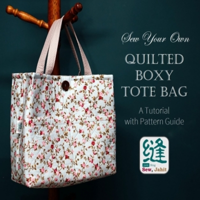 Quilted boxy tote bag ( free sewing pattern & tutorial )