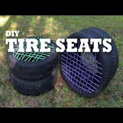 DIY Tire seats - garden decor from tires
