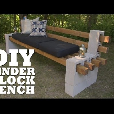DIY Cinder block bench - quick garden bench without special tools or skills