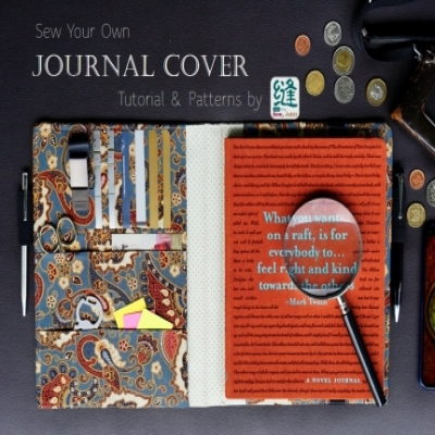 DIY Fabric journal cover ( free sewing pattern & tutorial )