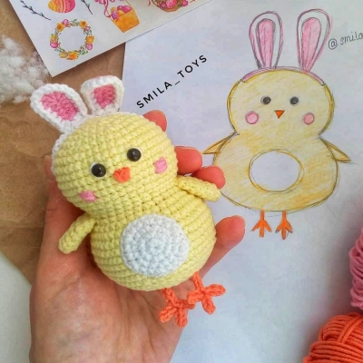 Amigurumi Easter chick with bunny ears (free amigurumi pattern)