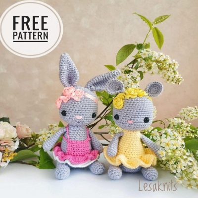 Crochet spring bunny and mouse (free amigurumi patterns)