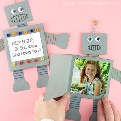 DIY paper robot Father\'s day card