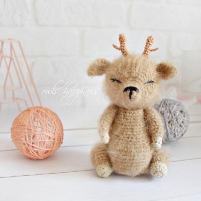 Sleeping fluffy amigurumi deer (free amigurumi pattern)