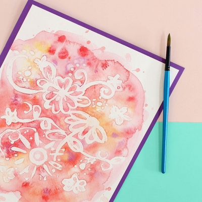 Easy watercolor resist art  with rubber cement