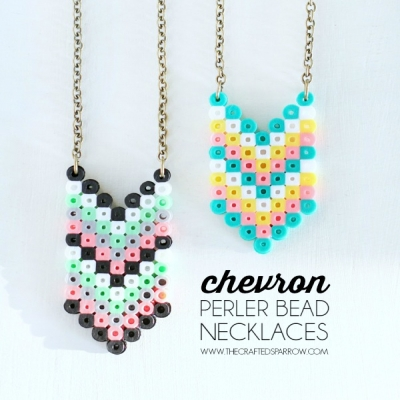 DIY Chevron perler bead necklaces