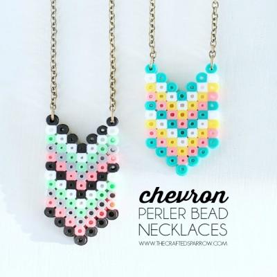 DIY Chevron perler bead necklaces