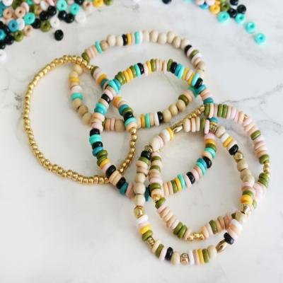 DIY Boho perler bead elastic bracelets - jewelry making trick