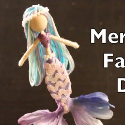 DIY mermaid doll (faux flower mermaid doll) - summer craft for kids