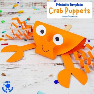 Crab puppet craft  - fun summer craft for kids