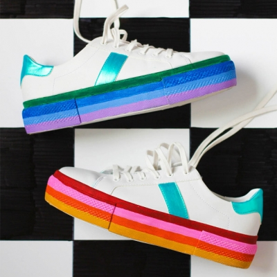 DIY Rainbow platform sneakers - how to hide sole stains