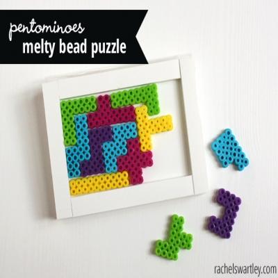 Pentominoes perler bead puzzle - fun DIY game for kids