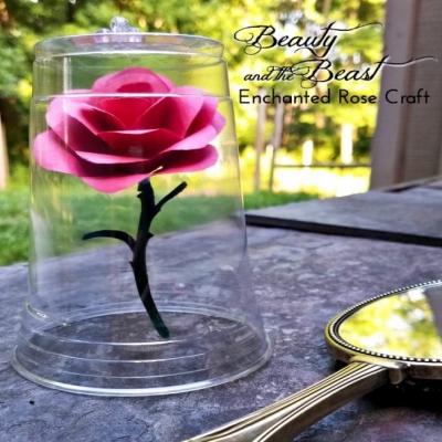 DIY Enchanted rose ( with free printable ) - fun Disney craft for kids