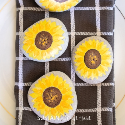 DIY Sunflower painted rocks - fun rock painting project