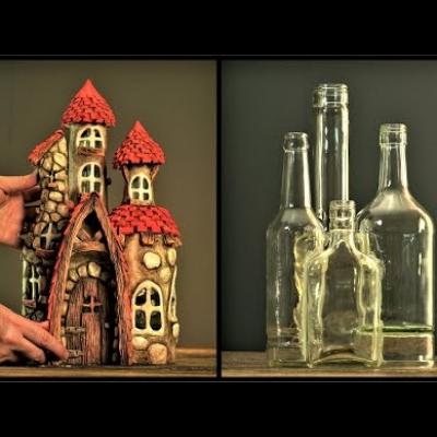 DIY Fairy house from glass bottles