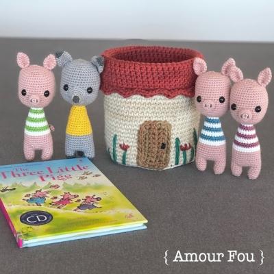 Three little pigs amigurumi play set (free amigurumi patterns)