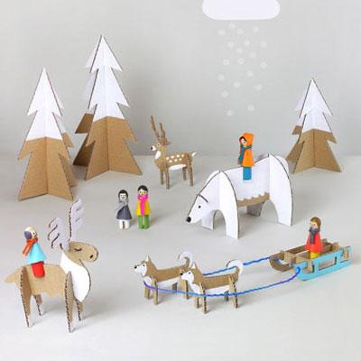 Winter wonderland cardboard toy set (with printable)
