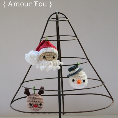 Amigurumi Christmas ornaments (Santa,reindeer&snowman) - free patterns