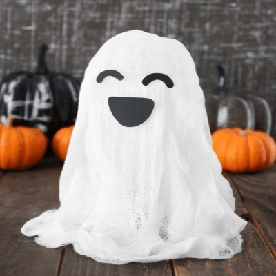 Spooky floating cheesecloth ghost - fun Halloween craft