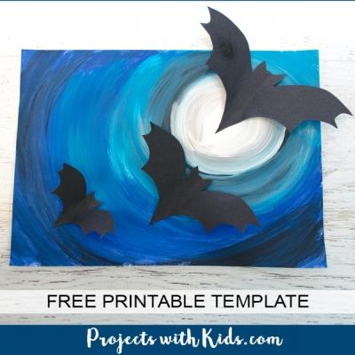 DIY Halloween wall art with 3D paper bats - fun art project for kids